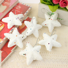 6 Pcs Christmas Tree Decorations White Stars Snowflake Christmas Ornaments Decorations for House Xmas Noel Ornaments for Home(China)