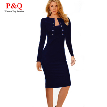 JIROFA 5XL Pencil Office Dresses 2016 Business Women Full Sleeve Midi OL Fashion Square Neck Button Bodycon Clothes