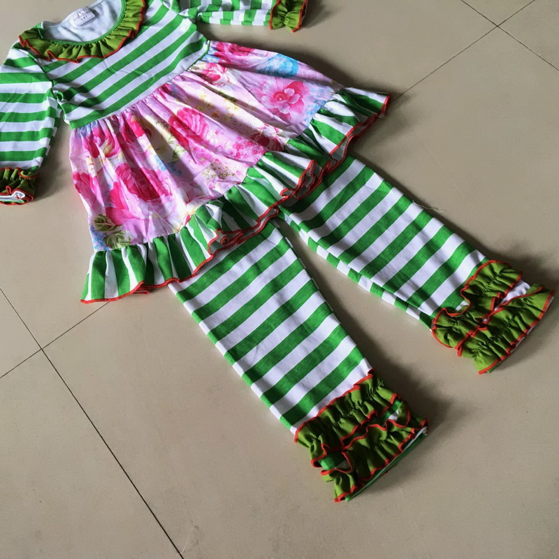 Summer and Autumn and stripe kids Girls Dress with ruffle trim Bib Hot Sale and 3/4 sleeves Apparel Accessory For baby birthday<br>