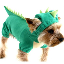 Puppy Dog Pet Halloween Dinosaur Costume Waterproof Coat Green Coat Outfits Jumper Apparel Clothes