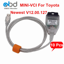10Pcs/Lot DHL Free For Toyota Mini VCI Diagnostic Scanner Mini-VCI J2534 V12.00.127 OBDII Communication Interface TIS Techstream