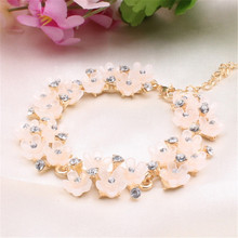 Elegant Charm Bangle & Bracelet with Crystal Resin Daisy and Flower Women Wedding Valentine's Day Gift Dress Accessories