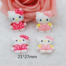 Kawaii  Home decoration 3D flat back planar resin craft cartoon Hello Kitty Figurine DIY hair Bow jewelry accessories
