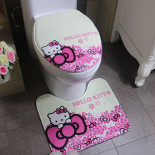 2pcs/set Cute Cartoon Soft Bathroom Carpet with Toilet Cover,Cheap New Japanese Style Non-slip Bath Mat Comfortable Floor Rug