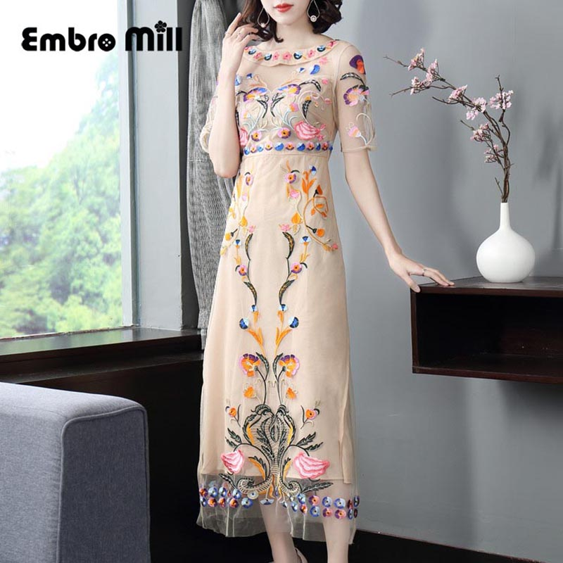 High-end spring women Celebrity style floral Qipao dress apricot Mesh Heavy work embroidery slim lady cheongsam party dress S-XL