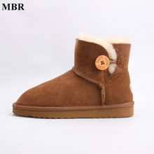 MBR real sheepskin leather short ankle suede UG snow boots for women wool fur lined winter shoes with button boots red brown(China)