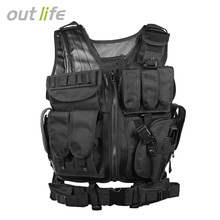 Camo Hunting Vest Men Tactical Vest Molle Military Tactical Paintball Assault Shooting Hunting Clothes Clothing with Holster(China)