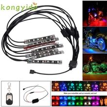 Car-styling 8PCS RGB LED Car Motorcycle Chopper Frame Glow Lights Flexible Neon Strips Kit FE28 Levert Dropship