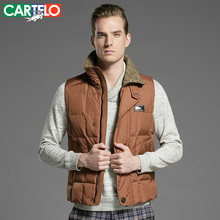 CARTELO/Brand Slim 90% Duck S-XXXL Men's Casual Down Vest Autumn Or Winter Collar Male Vest Warm Thick Coat For Men(China)