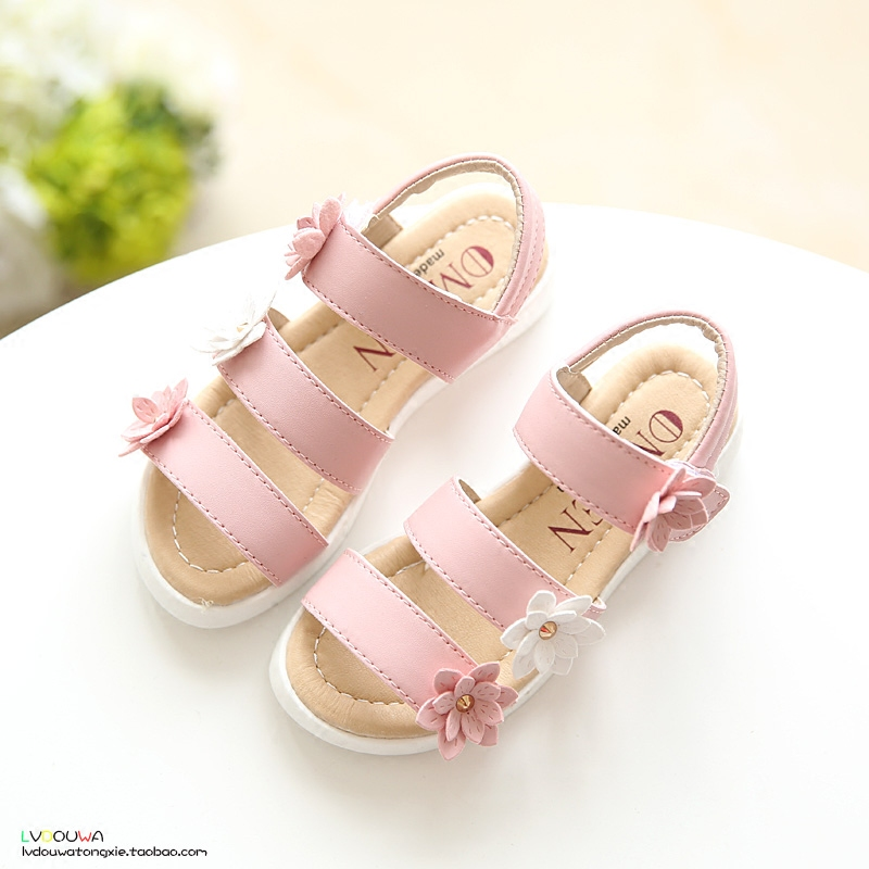 YNB Three Flower Kids Sandals For Girls Summer Princess Shoes Baby Toddler Children Soft Leather Sandal Girl 2017 Fashion Shoes<br><br>Aliexpress