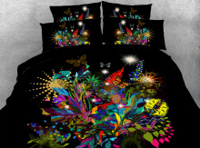 Royal Linen Source 4 Parts Per Set Tropical Flowers and Butterflies digital 3d bed sheet