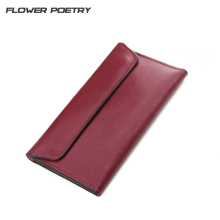 FLOWER POETRY Genuine Leather Women Long Wallet Female Min Clutch Bags Magnetic Buckle Multifunction Wallet Purse Card Holder(China)