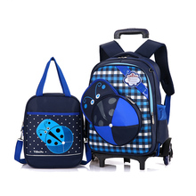 fashion canvas printing Trolley School Bag For Girls Boys Portable Detachable Backpacks Alleviate Burden Children Wheeled bags(China)