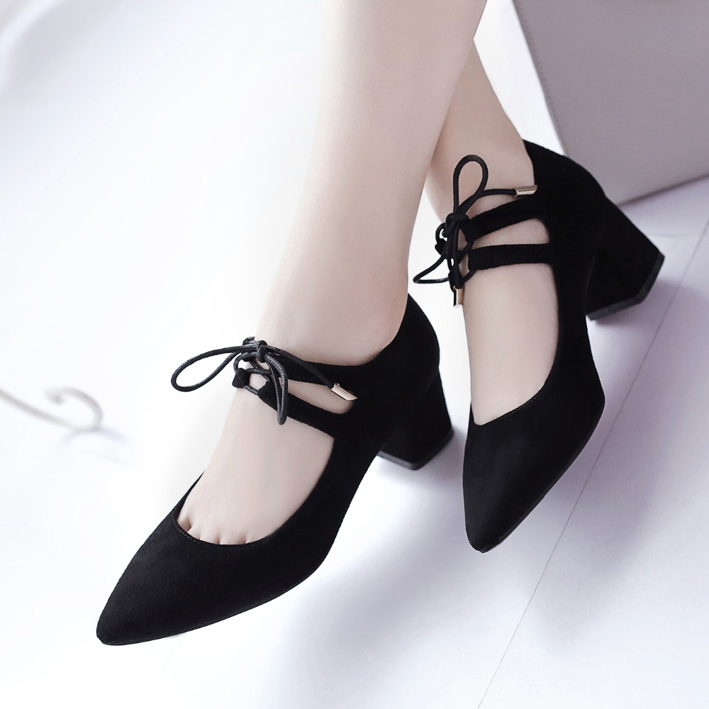 New fashion lace up women shoes 2017 pointed toe ladies pumps thick heel shoes red black green blue heels women pumps shoe bride<br><br>Aliexpress