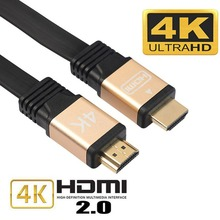 High Speed Gold-plated Flat HDMI Cable with Ethernet,HDMI to HDMI cable HDMI 2.0 4k 3D Cable for HD TV LCD Laptop PS3 Projector