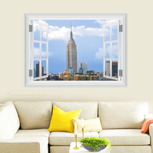 United States Empire State Building Wall Stickers Home Decor Living Room 3D Window Scenery Wall Decals PVC Mural Diy Posters(China)