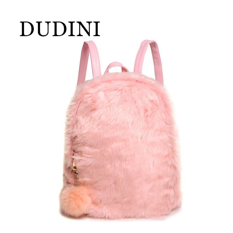 DUDIN Winter Women Hairy Backpacks School Bag Student Plush Backpack Ladies Women Bags For Teenage Girls Cute Rucksack<br><br>Aliexpress