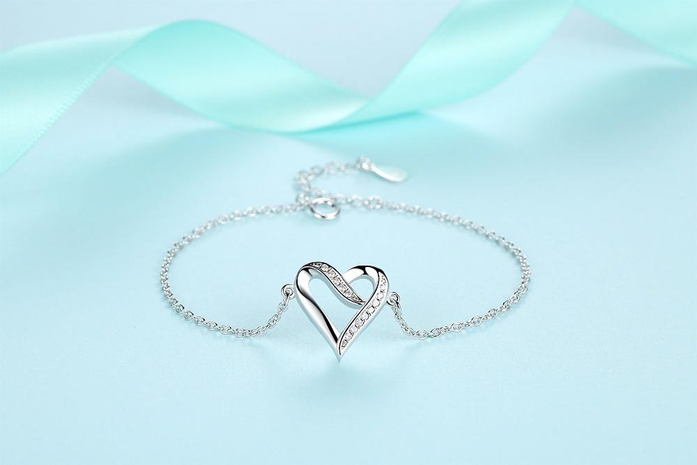 ELESHE Romantic 925 Sterling Silver Jewelry Heart-shaped Temperament Female Anti-allergic Female Bracelet For Lover