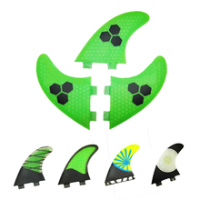 3 PCS/SET 2016 New Green Surf Fins/Surfboard Fins FCS/Fiberglass Surf Fins beehive Fsurfing fins For Men And Women G5/G7