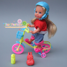 Funny toys for baby girls play house toys plastic bike and safty cap kit For Barbie doll for kelly doll(China)