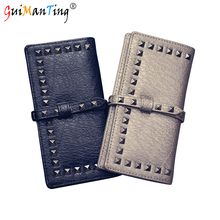 PU Leather Women Punk Style Rivet Wallet Luxury Handbags Designer Card Holder Coin Clutch Organizer Storage Purses Baobao Zipper(China)