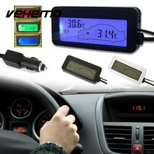 Vehemo Mini Digital LCD Car Thermometer Voltmeter Auto Indoor/Outdoor Temperature Meter Gauge Instruments DC 12-24V(China)