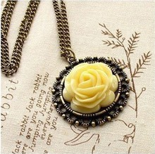 N123 cheap jewelry wholesale Retro style rose flower Long Necklace Wild sweater chain Hot Sales Free Shipping