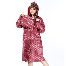 Polka Dot EVA Women Long Rain Coat Hiking Waterproof Women Hooded Rain Coat Women Wind Proof Ponchos Trench Rain Coat