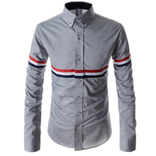 2017 New Dress Fashion Quality Long Sleeve Shirt Men.Korean Slim Design,Formal Casual Male Dress Shirt.Solid Color.Stripe