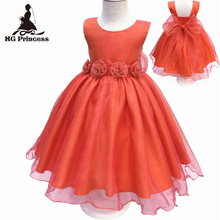 Free Shipping HG Princess Organza kids evening gowns 2017 New Arrival Girl Dress 2T-10T Orange Flower Girl Dresses For weddings(China)