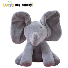 Peekaboo Elephant Plush Toy Electronic Flappy Elephant Play Hide And Seek Baby Kids Soft Doll Birthday Gift For Children