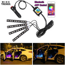 4Pcs Bluetooth APP Control Car RGB LED Strip Lights Car Styling 9 led Interior Decorative Atmosphere Lamps For Android IOS