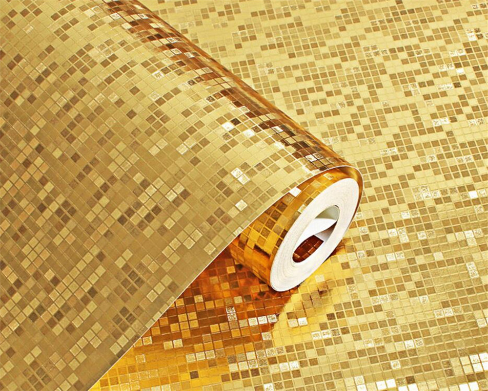 Beibehang Golden Silver 3d Mosaic Wallpaper Waterproof Grid 3d Wallpaper Kitchen Room Living Room Decorated Background wallpaper<br>