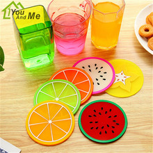 1 Piece Cute Silicone Dining Table Placemat Coaster Kitchen Accessories Mat Cup Bar Mug Cartoon Fruit Drink Pads