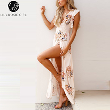 Buy Lily Rosie Girl Floral Print Ruffles Maxi Dress V Neck Sexy Boho Dress Sleeveless Long Beach Summer Dress Vestidos 2018 for $20.99 in AliExpress store