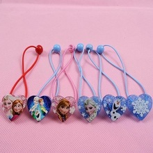 6pcs/lot Elsa Anna Head Rope Elastic Hair Bands Headwear Heart-shaped Hair Accessory Kids Headband Festival Gift(China)