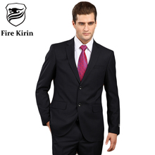 Fire Kirin Men Suit 2017 Latest Coat Pant Designs Luxury Mens Striped Suit Italian Wool Suits Blue Formal Wear Wedding Dress Q82(China)
