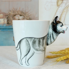 High Quality Personality 3D Hand Drawn Siberian Husky Shaped Coffee Mugs Milk Mugs, JSF-Mugs-010