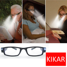 +1.5 Strength KIKAR Fashion LED Reading Glasses w/ Plastic Case Night Reader Eye Light Eyeglass Spectacle Diopter Toys Magnifier(China)