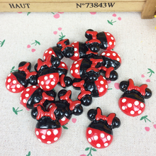 10Pieces Flat Back Resin Cabochon Kawaii Cartoon Mouse Flatback Embellishment Accessories Scrapbooking Craft Making:26*28mm