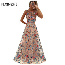 Buy Luxury Runway Women Floral Embroidery Flower Dress Summer Mesh Maxi Dress Designer Dresses Long Sexy Dress Clothing Vestidos B42 for $28.93 in AliExpress store