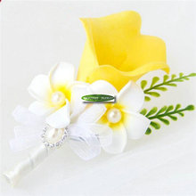 6PCS Prom Crystal Artificial Calla Groom Boutonniere Wedding Dancing Decor Corsage Brooch Flower Yellow White F174