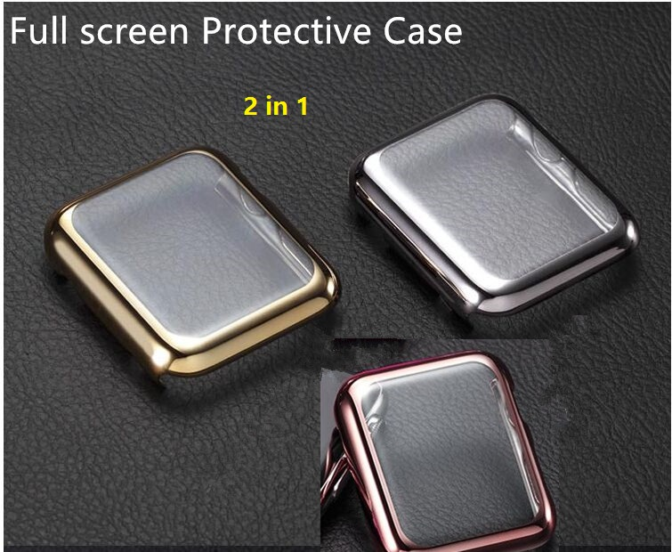 2016 New 2 in1 for Apple Watch Case Ultrathin Gold Plated Protective Case Cover film for Apple Watch 38mm/42mm<br><br>Aliexpress