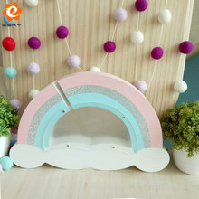 Cute Piggy Bank Home Children Bedroom Decor Ornaments Handmade Solid Wood Rainbow Clouds Money Coin Saving Box Christmas Gift(China)