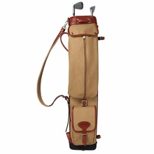 Tourbon Vintage Golf Club Carry Bags Travel Case Canvas and Leather Pencil Style Golf Gun Carrier Clubs Interlayer Cover 87CM(China)