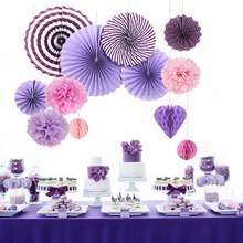 7Pieces a set Romantic lovely Party Decor Purple Theme Valentine's Day Party Decorations Favor valentine party supplies(China)