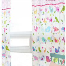 130*240cm cartoon birds cloth curtains colorful birds semi shade finished  curtains child room curtains