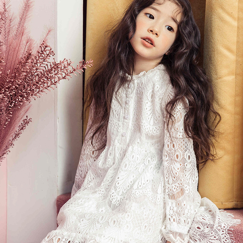 New 2018 Kids Lace Dress White Girls Spring Dress Children Long Sleeve Dress Floral Baby Clothes,2627<br>