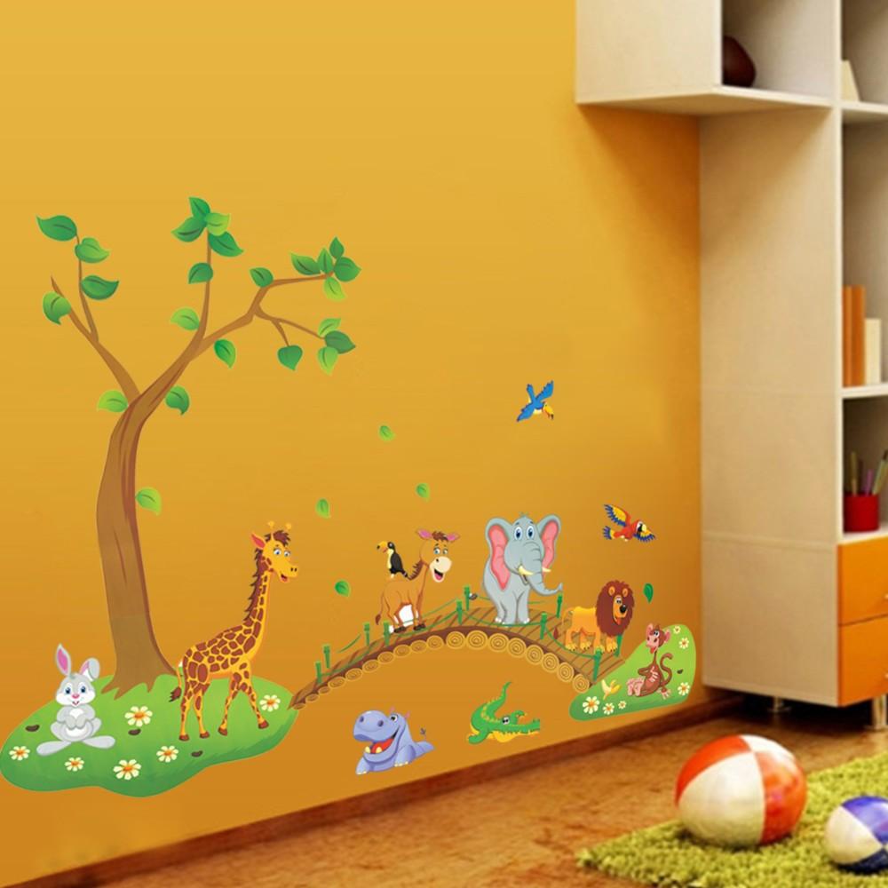 HTB1IGMJbPuhSKJjSspdq6A11XXaj - 3D Cartoon Jungle wild animal tree bridge lion Giraffe elephant birds flowers wall stickers for kids room living room home decor