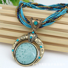 2017 New Necklace Bohemia Style Jewelry Imitation Turquoise Short Necklaces Unique Sweater Chain Drop Shipping YP3045